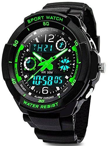 Digital Uhren für Kinder Jungen - Wasserdicht Outdoor Sports Digitaluhren Analog Armbanduhr mit Wecker/Timer/LED-Licht, Elektronische Stoßfest Handgelenk Uhr für...