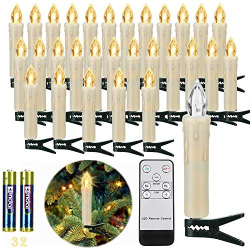 30er LED Weihnachtskerzen Kabellos, Warmweiß Christbaumkerzen Kabellos, LED Kerzen Weihnachtsbaum mit Fernbedienung Timer Flackern, IP64, Weihnachtsdeko...