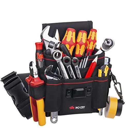NoCry Heavy Duty Canvas Werkzeugtasche mit 7 geräumigen Taschen, 10 Werkzeugschlaufen, verstellbarem Hüftriemen und robustem Kletterverschluss zur Befestigung am...