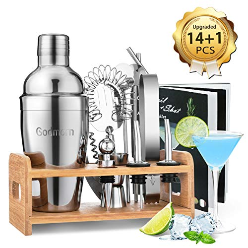 Cocktail Set, Godmorn Edelstahl Cocktail Shaker Set, 15 Teiliges Barkeeper Set mit Bessere Bambus Ständer, Rezeptbuch, Messbecher und Bar Löffel, 550 ml Cocktail...
