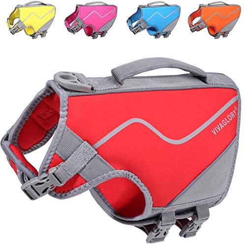 VIVAGLORY Schwimmweste für Kleine Hunde, Hautfreundliche Hundeschwimmweste aus Neopren mit Starkem Auftrieb und Rettungsgriff, Rot, Größe S