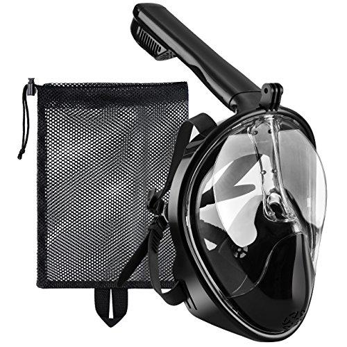 Tauchmaske, OMorc Seaview 180 Grad Blickfeld GoPro Kamera Halterung Kompatible Schnorchelmaske für Erwachsene und Kinder - Panoramavolles Gesichtsdesign mit...