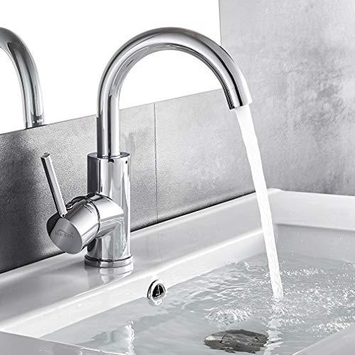 AuraLum chrom Wasserhahn 360 Drehbar Bad armatur Waschbecken Mischbatterie Waschtischarmatur Einhandmischer Badarmatur frs Badezimmer(50CM Schlauch)