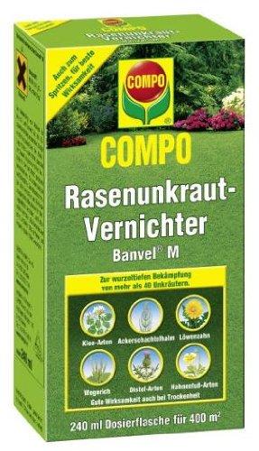 COMPO Rasenunkraut-Vernichter Banvel M, Bekämpfung von breitblättrigen Unkräutern im Rasen, Konzentrat, 240 ml, 400 m²