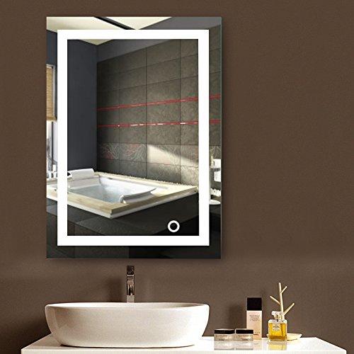 MUPAI Badspiegel mit Beleuchtung,Badezimmerspiegel mit Beleuchtung,badezimmerspiegel LED Touch (50x70cm, A)