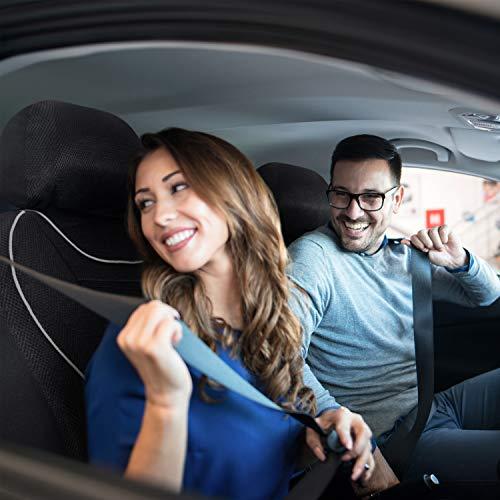 EDELWORKS® Autositzbezüge Vordersitze in Premium Design (2er Set) - Universell passende Auto Sitzbezüge schwarz/grau - Autoschonbezüge in Top-Qualität -...