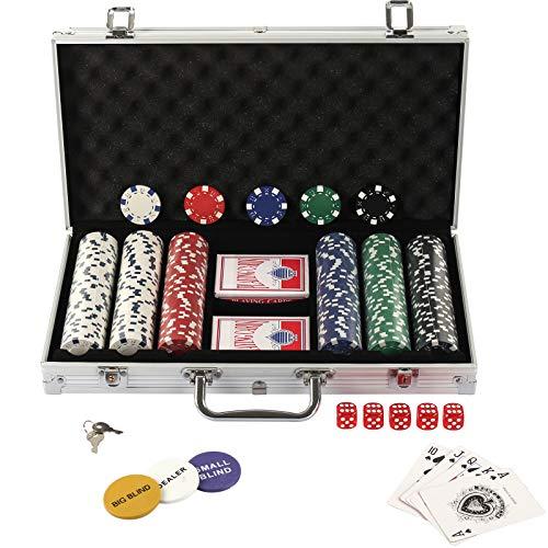 Display4top Pokerkoffer 300 Chips Laser Pokerchips Poker 12 Gramm , 2 Karten, Händler, Small Blind, Big Blind Tasten und 5 Würfel, mit Aluminium-Gehäuse