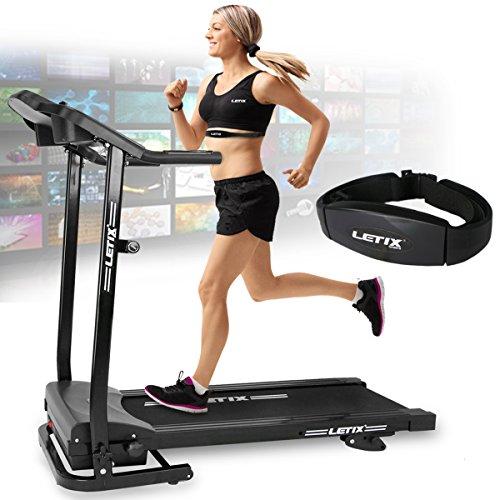 Letix Sports Motorisiertes Laufband mit APP Steuerung (Tablet, Smartphone) inkl. Pulsgurt, LCD-Display Elektrisches Fitnessgert Heimtrainer Klappbar (schwarz)