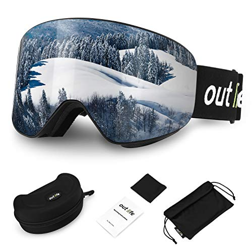 outlife ski goggles snowboard goggles hyperboloid snow goggles OTG Anti-Fog UV400 protection foresight interchangeable lens frameless ski goggles for women men adults ...