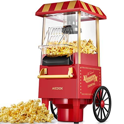 Popcornmaschine Retro, Aicook™ 1200W für Zuhause Popcorn Maschine Maker mit Heissluft, Popcorn Machine ohne Fett Fettfrei Ölfrei, Eine-Taste-Operation, Popcorn...