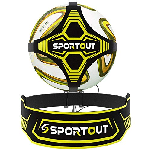 Sportout football kick trainer, hands-free solo football trainer, football training aid with extended side waistband protection, two-sided adjustment of the belt length, ...