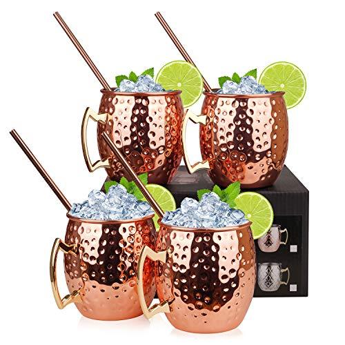 Hossejoy Moscow Mule Kupferbecher: Satz von 4 – Umfasst 4 x Becher 550ML, 4 Trinkhalme in Geschenkbox – Großartig für Cocktail Gekühlte Getränk – 100%...
