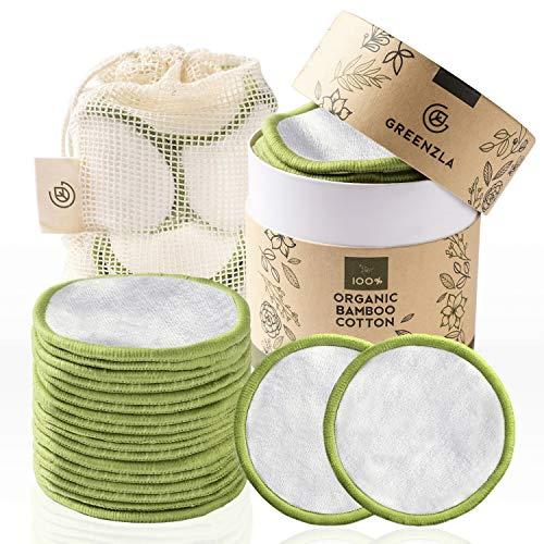 Greenzlan meikkien poistotyynyt pestävät (20 kpl), pestävä pyykkipussi ja pyöreä laatikko säilytystä varten 100% orgaanista bambua ja puuvillaa Uudelleenkäytettävä ...