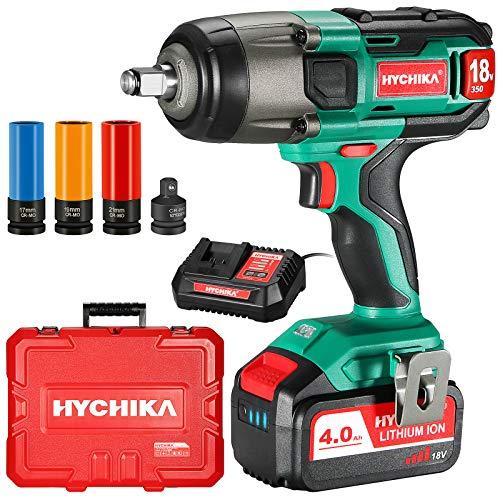Akku Schlagschrauber, 350N·m mit 4,0 Ah 18V Batterie HYCHIKA Schlagschrauber, 3000 IPM Schlagfrequenz, 3PCS Buchsen für 17/19/21mm, Adapter für 10 mm Dorn und...