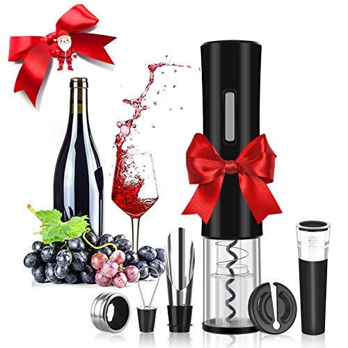 Rovtop Elektrischer Korkenzieher Automatischer Weinflaschenöffner aus Edelstahl mit Folienschneider, Wein Stöpsel, Weinausgießer und Weinring (Batterien Nicht...