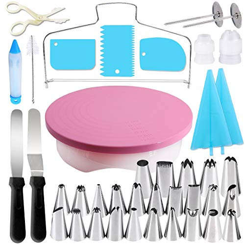 Gyvazla cake platter rotatable, cake stand cake turntable with 25 pieces of spouts, 2 x angle pallet set, 3 x cake scraper, cake base divider, ...