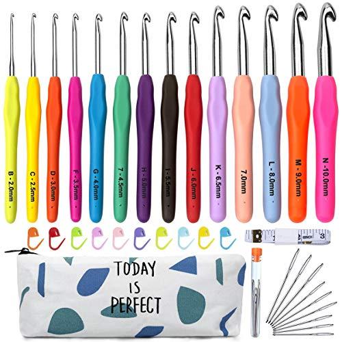 Häkelnadel Set 14 Stück Bunte Ergonomische Soft Gummi Comfort Grip Häkeln Stricken Nadeln Kit Haushalt Werkzeug mit tragbaren Tasche