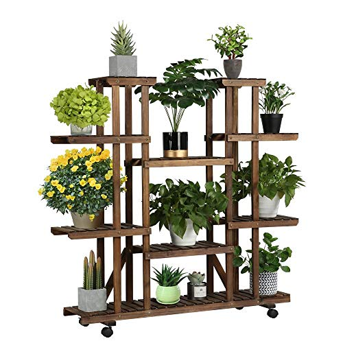 Yaheetech flower shelf wood 6 levels flower stand flower bench with wheels for balcony living room outdoor garden
