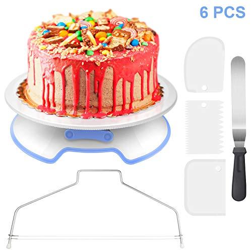 WisFox Tortenplatte Drehbar Abschließbar Tortenständer Kuchen Drehteller Cake Decorating Turntable mit 1 Winkelpalette, 3 Icing Smoother, 1 Kuchen Cutter, für...