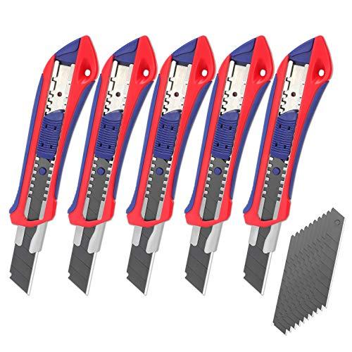 WORKPRO 5 Stück Cuttermesser Set 18mm Abbrechklinge Kartonmesser aus SK5,Mehrzweck Messer Allzweckmesser mit gummiertem Griff inkl. 20 Ersatzklingen, Perfekt für...