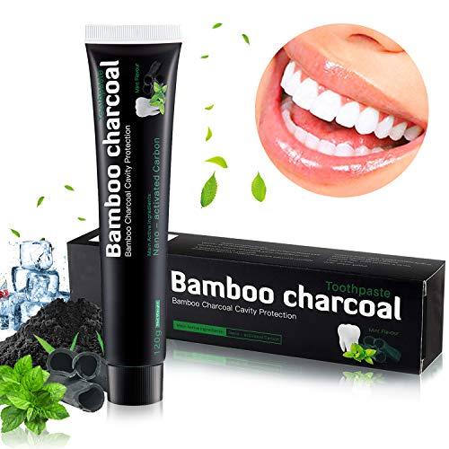 Aktivkohle Zahnpasta, Natürliche Zahnaufhellung Zahnpasta, Zahnpasta Weisse Zähne zur Beseitigung von Mundgeruch und Zahnflecken, Zahnpasta ohne Fluorid Macht...