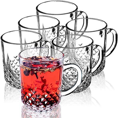 KADAX Teegläser, 6er Set, Gläser mit Griff, Glastassen für 6 Personen, spülmaschinenfest, Trinkgläser für Kaffee, Tee, Wasser, Saft, Drink, Saftgläser,...
