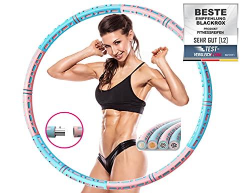 BLACKROX Fitnessreifen HOOPAROX Erwachsene Hula Fitness Reifen Innen Edelstahl Gewicht Einstellbar Gewichtsreduktion 1,2-4 kg anfänger Hoop Reifen für Abnehmen...