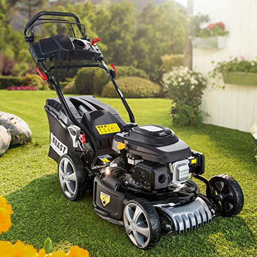 BRAST petrol lawn mower 4,4kW (6PS) electric start self-propelled 46cm cutting width 30-80mm cutting height 60L grass catcher basket GT branded gear Easy Clean Big-Wheeler ...