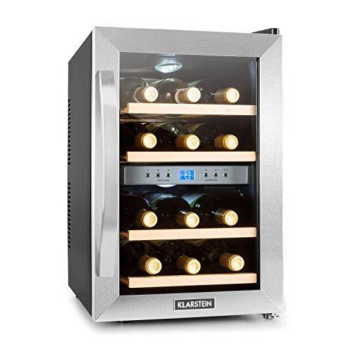 Klarstein Reserva - Getränkekühlschrank, Weinkühlschrank, 34 L, 12 Flaschen, 4 Regaleinschübe, leise, 2 Zonen, 7-18°C Temperaturbereich, LED-Innenbeleuchtung,...