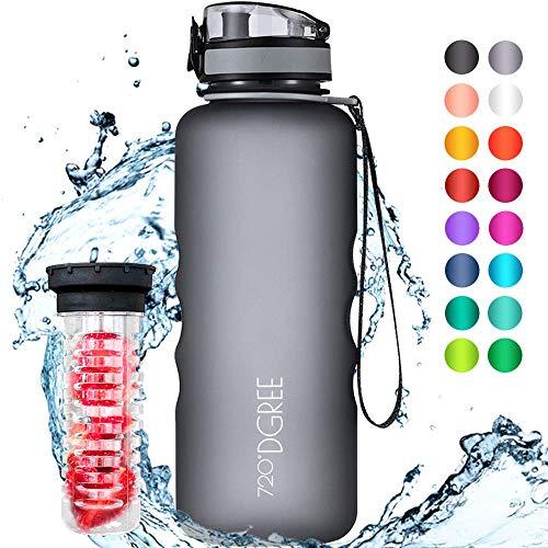 """720°DGREE Trinkflasche """"uberBottle"""" – 1,5 Liter, 1500ml, Grau - Neuartige Tritan Wasser-Flasche - Water Bottle BPA Frei - Ideale Sportflasche für Kinder,..."""