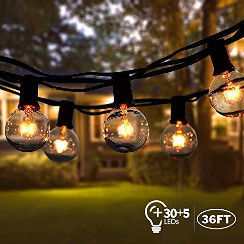 Lichterkette Außen,VIFLYKOO Lichterkette Glühbirnen Aussen G40 Wasserdichte Warmweiß Beleuchtung 30 Birnen mit 5 Ersatzbirnen 36FT Lichterkette Garten Dekoration...