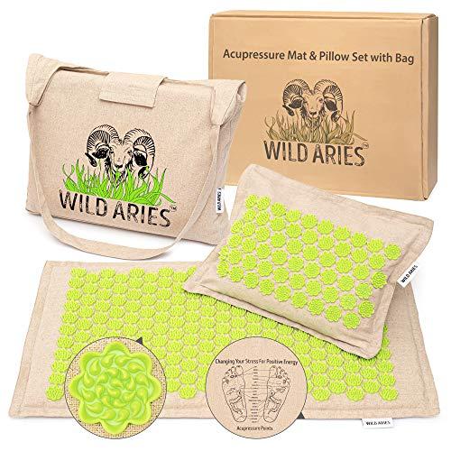 Akupressurmatte mit Kissen und Tasche - Wild Aries - Massagematte aus 100% Leinen - Baumwolle - Kokosfaser Buchweizenschalen - Rückenmatte entspannt die Muskeln -...
