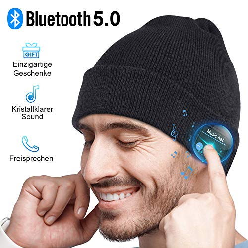 Bluetooth hat men women gift, bluetooth 5.0 headphones men hat beanie with microphone for hands-free call, music, running, skiing, electronic ...