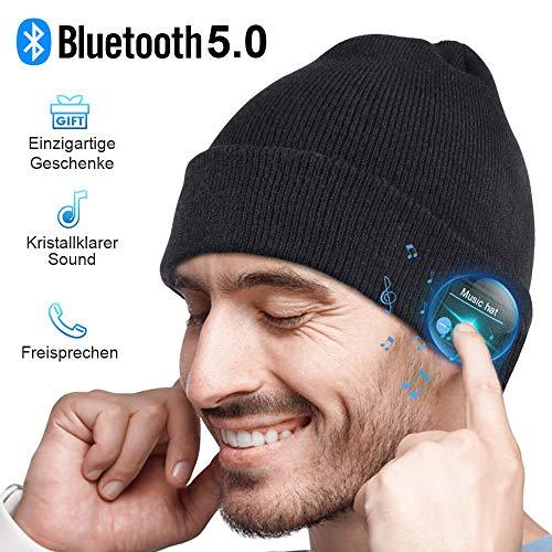 Bluetooth Mütze Herren Damen Geschenk, Bluetooth 5.0 Kopfhörer Männer Mütze Beanie mit Mikrofon für Freisprechanruf, Musik, Laufen, Skifahren, Elektronische...