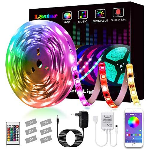LED Strip, L8star LED Streifen Farbwechsel Led Lichterkette 5M RGB Flexible LED Bänder Strips mit Bluetooth Kontroller Sync zur Musik, Anwendung für Schlafzimmer,...