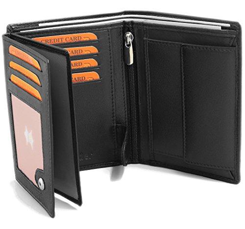 Fa.Volmer ® Schwarze Ledergeldbörse aus echtem Leder in Hochformat mit TÜV geprüftem RFID Schutz Phoenix 3