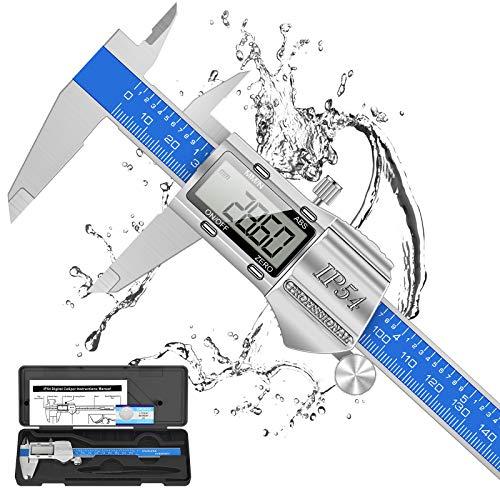 Digitale Schieblehre Industriequalität, 150mm / 6-Zoll Edelstahl Messschieber Digital Messlehre Spritzwasserdicht Staubdicht, 2 Ersatzbatterie, IP54 Wasserdichte...