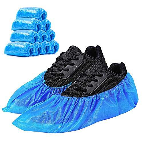 Schuhüberzieher, blauer dicker CPE-Einwegschuhbezug, wasserdicht, rutschfest und schmutzabweisend, halten den Raum/das Auto/den Teppich sauber (L, Blau)