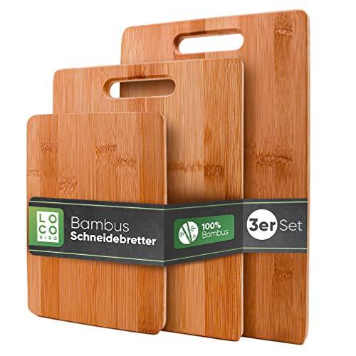 Loco Bird massive Bambus Schneidebretter 3er Set - 33x22cm / 28x22cm / 15x22cm - Holz-Brett für die Küche - Holzschneidebrett - Antibakterielles Schneidebrett aus...