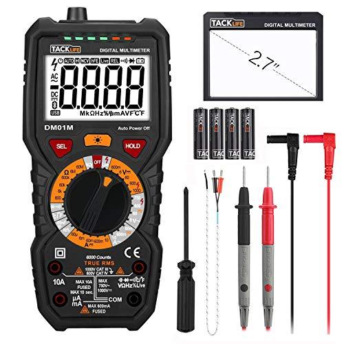 Digital Multimeter, Tacklife DM01M Advanced Multimeter mit 6000 Counts, True RMS, Temperaturmessung, Außenleiter-Identifizierung, Durchgangsprüfung,...