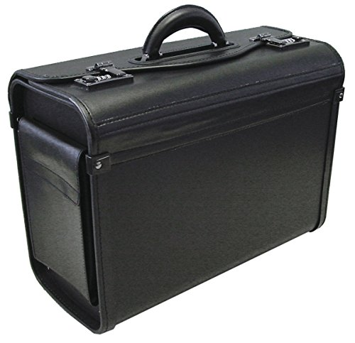 Alassio 45028 - Pilot case GENOVA, made of durable imitation leather, approx. 46 x 35 x 20,5 cm, black