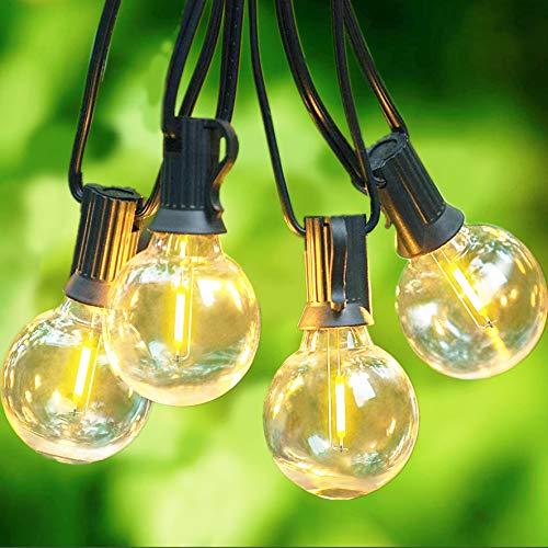 Svater Lichterkette Außen,15m 46 Glühbirnen LED G40 Glas Bulbs Garten Lichterkette Terrasse außerhalb,IP45 Wasserdichte Retro Beleuchtung für Innen/Außen...