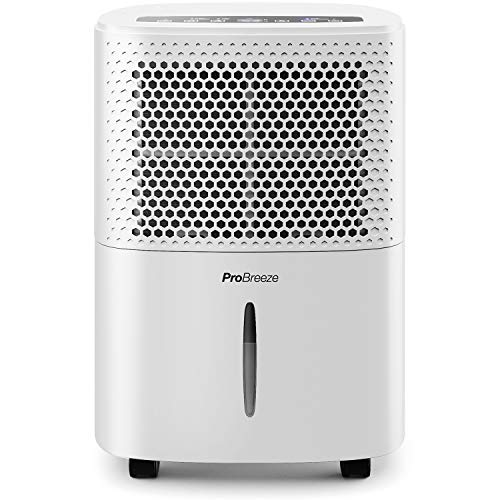 Pro Breeze dehumidifier 12L in 24h dehumidification capacity - room size approx. 120m³ (~ 20 m²) - with 3 operating modes, digital display, drain hose, timer - against ...