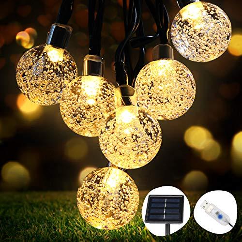 LED light chain outside Solar OMERIL light chain with 50 LED crystal balls 8 meters USB light chain inside for garden, trees, bedroom, children's room, ...