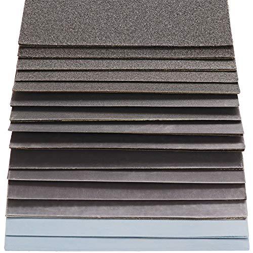 S&R Wasserfestes Schleifpapier Set 60 Stk, Schleifblätter Satz, Schmirgelpapier, für Trockenpolitur und Nasspolitur, Siliziumkarbid-Korn, 15 Körnungen P80 bis...