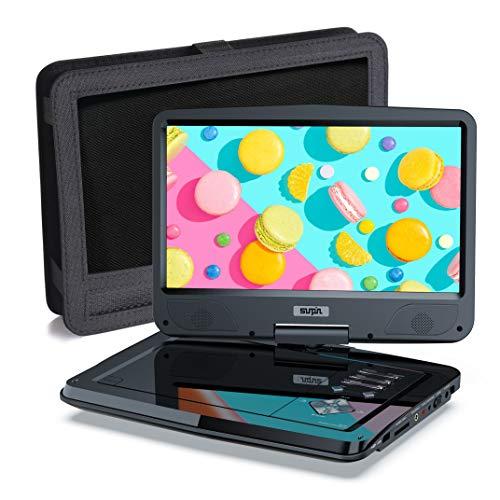 SUNPIN Tragbarer DVD Player mit 10,5 Zoll HD Schwenkbaren Bildschirm, Stereo-Lautsprecher&Dual-Kopfhörer-Buchse, Unterstützung Sync TV/USB/SD-Karte, Auto...