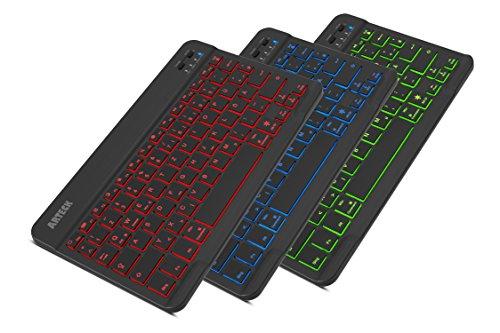 Arteck Bluethooth Tastatur, QWERTZ Deutsche Wireless Tastatur mit 7 Farben Ultraleicht und dünn Tragbare Kabellose Tastatur, für iPad Pro, Air, Mini, Android,...