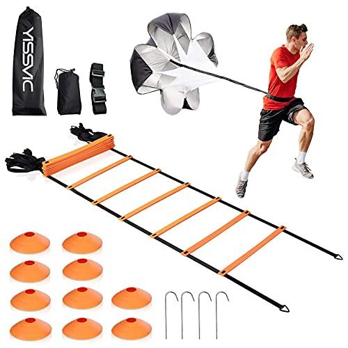 Yissvic Koordinationsleiter Trainingsleiter 6m Leiter Sport mit Widerstandsschirm und 10 Sportkegel Tragetasche Orange