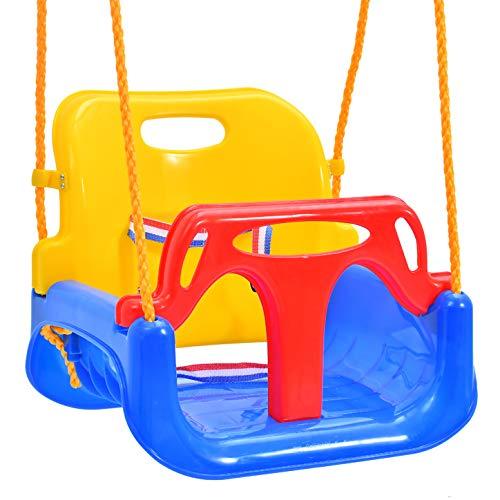 Emwel Babyschaukel Outdoor - kinderschaukel 3 in 1 Kinderschaukel Indoor Kinderschaukel für Baby und Kinder abnehmbare Freien Schaukelsitz Kinder mit Rückenlehne...