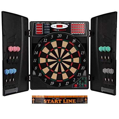 Ultrasport elektrisches Dartboard, mit und ohne Türen, Dartautomat für bis zu 16 Spieler, inklusive Abwurfline, 12 Dartpfeile und 100 Soft-Tipps, geeignet für...
